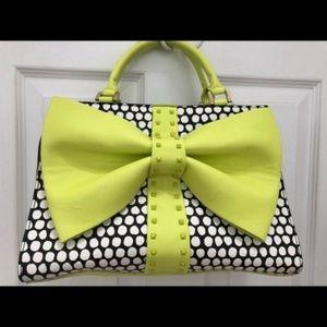 Betsey Johnson Lime Green and Black Polka Dot Bag